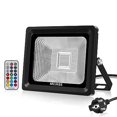 MEIKEE 30W Foco LED RGB en 16 opciones, 4 tipos de modos, Proyector LED de colores de IP66, luz decorativa adecuada para Halloween, Navidad, ...