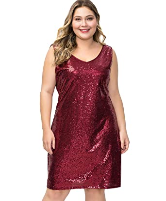MS STYLE Plus Size Sequin Dresses for Women Sparkly V Neck ...