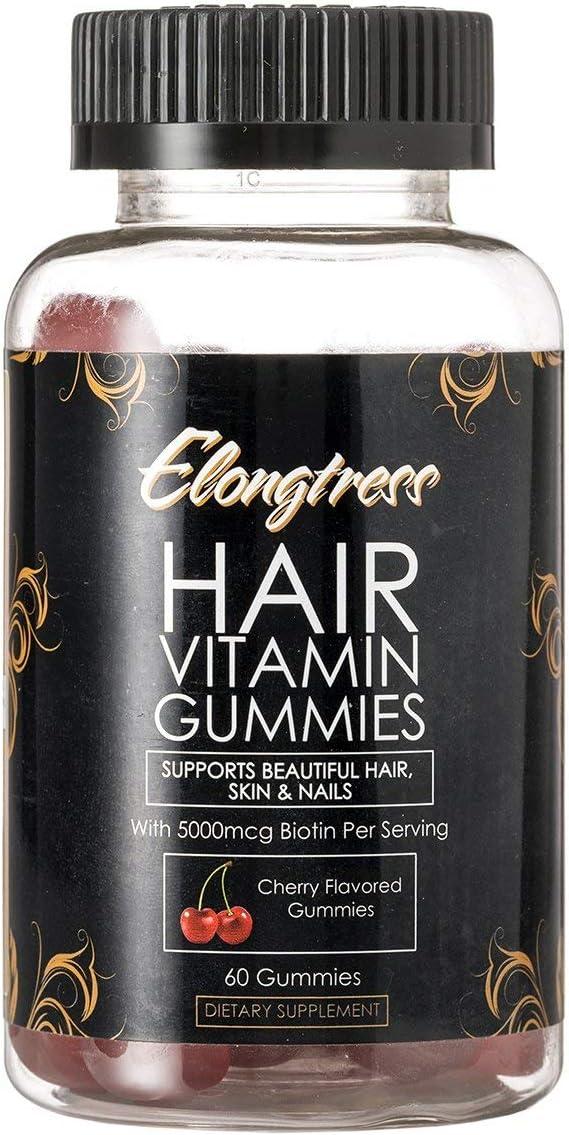 Elongtress Hair Gummy Vitamin Supplement - 5000mcg Biotin Per Serving - Hair Skin & Nails Gummies - Hair Vitamins for Faster Hair Growth