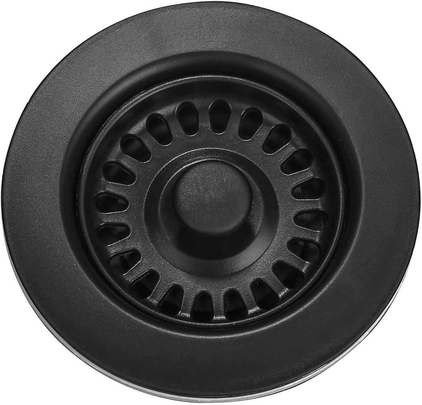 Black Serene Valley 3-1//2 inch Kitchen Sink Strainer Assembly with Stopper for Matching Color of Granite or Fireclay Sinks