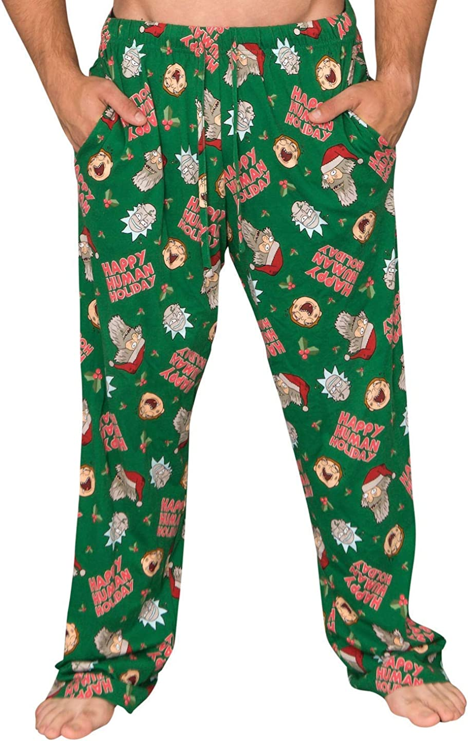 Underboss Rick and Morty Happy Human Holidays Green Lounge Pants