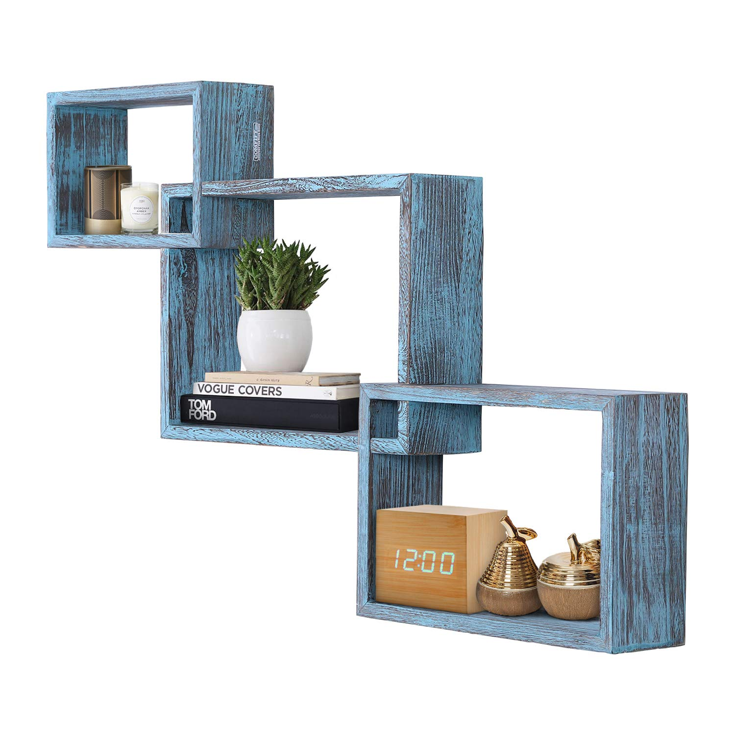 Rustic Wall Mounted Tier Square Shaped Floating Shelves – Set of 3 – Screws and Anchors Included - Farmhouse Wooden Shelves for Bedroom, Living Room and more – Rustic Wall Barn Décor – Rustic Blue