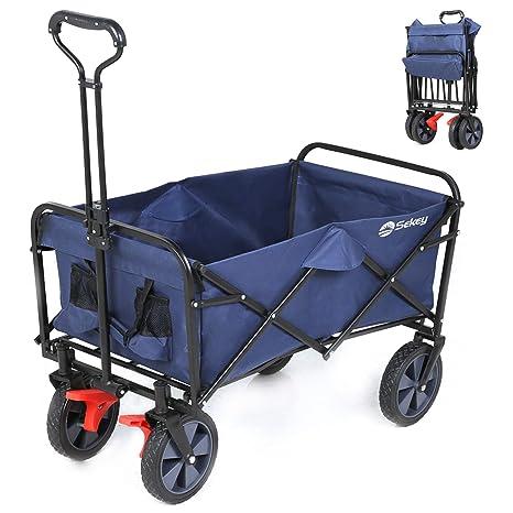 Sekey Carretillas de Carro Plegable con Frenos, para jardín, Carrito transportador Apto para Todo Tipo de Fondos, Color Azul Oscuro