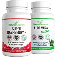 Raspberry Ketone and Aloe Vera Max Colon Cleanse | Natural Cleanse Detox Combo | High Quality Supplement |120 Capsules | Vegetarian Friendly | UK Manufactured | Well Known Trusted Brand