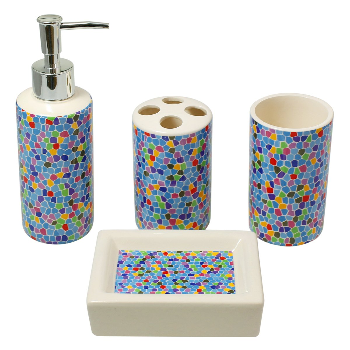 Amazon.com: 4-Piece Ceramic Bathroom Accessory Set - Blue Scatter ...