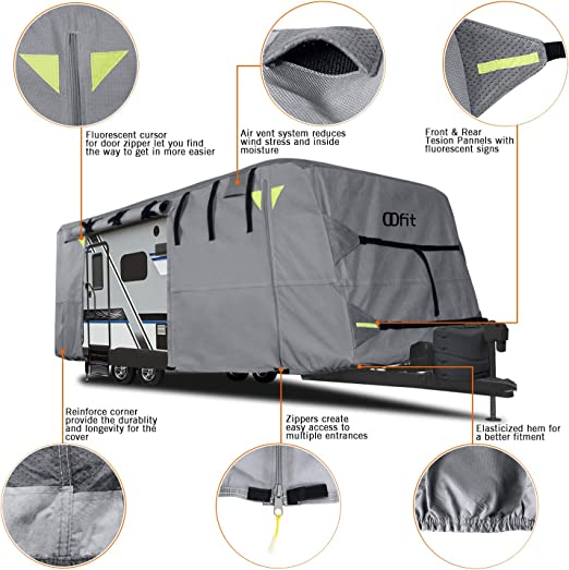 OOFIT Travel Trailer Cover Fits for 24-27/' 4 Layers Fabric Harsh Weather Protection Anti UV Waterproof Breathable Easy Installation