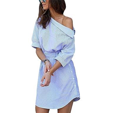 Shirt Women Vestidos One Shoulder Half Sleeve Stripper Dress Sashes Mini Dress