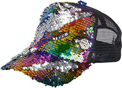 0562c92a0950c Image Unavailable. Image not available for. Color: UPD HARBFLI Rainbow Flip  Sequin Trucker Hat ...