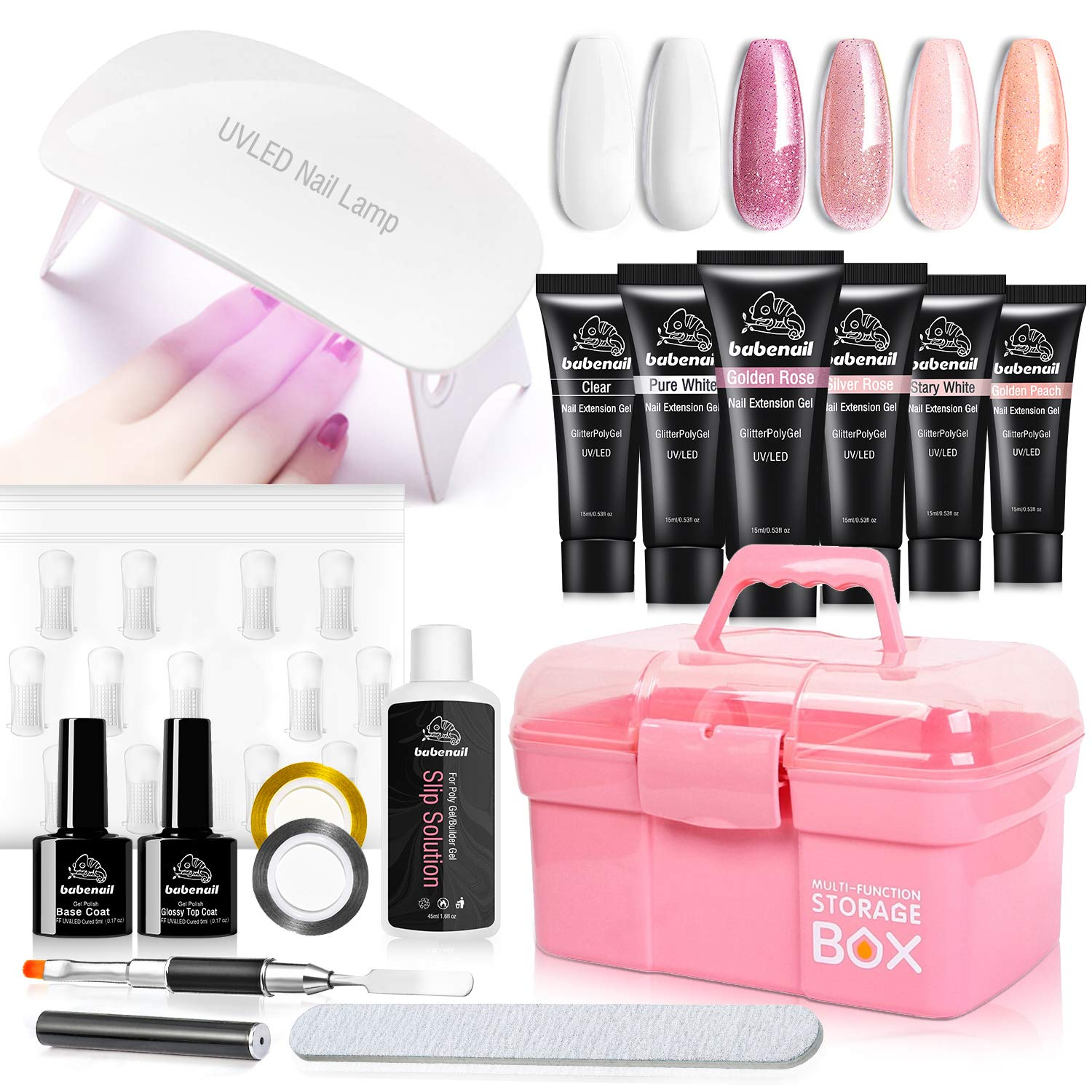 BebaNail Polygel Builder Nail KIt - 6PCS PolyGel Base & Top Coat Portable With 6W UV LED Lamp Poly Gel Extension Nail Kit Slip Solution Nail Art Accessories with Storage Box Manicure Tools Set