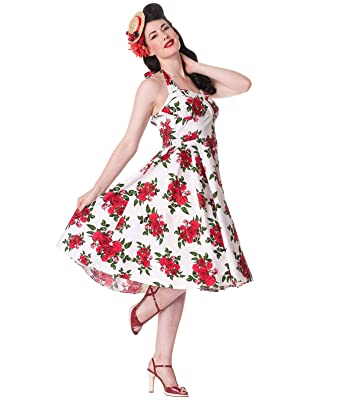 f54eeab7a73 Hell Bunny Années 50 Robe Fleurs Cannes Blanc Rockabilly Pin Up Floral  Toutes Les Tailles -