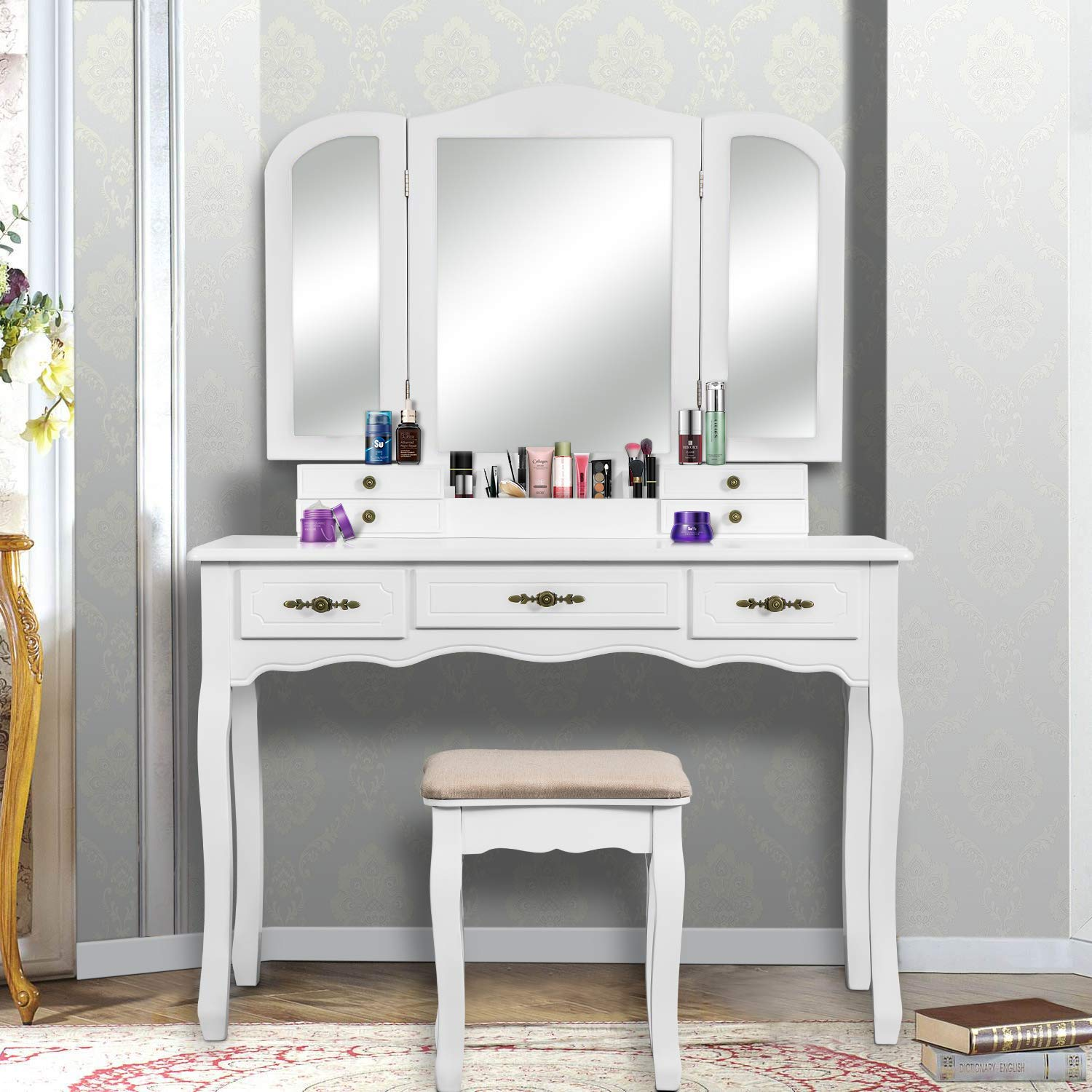YOUKE Vanity Set, Tri-Folding Necklace Hooked Mirror, 7 Drawers, Makeup Dressing Table with Cushioned Stool Easy Assemble