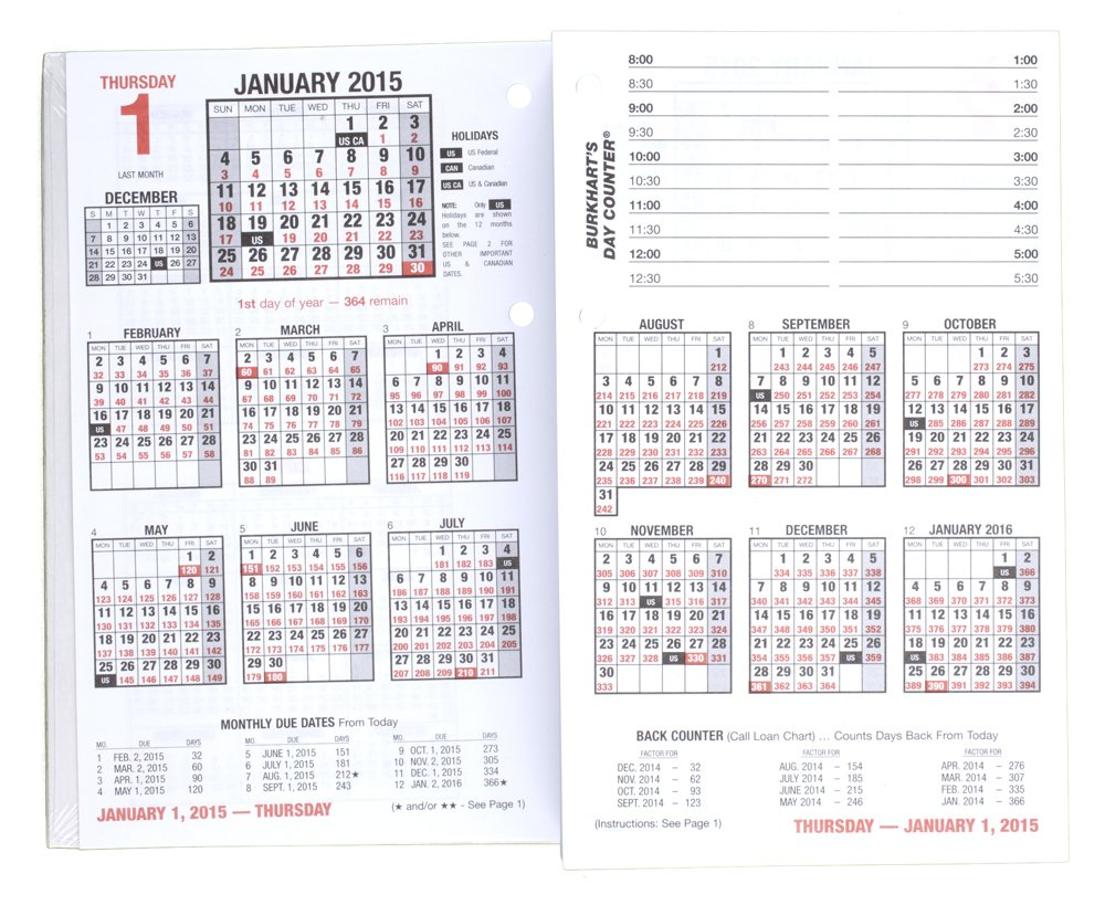 AT-A-GLANCE Burkhart's Day Counter Desk Calendar Refill 2015, 4.5 x 7.38 Inch Page Size (E712-50) by AT-A-GLANCE