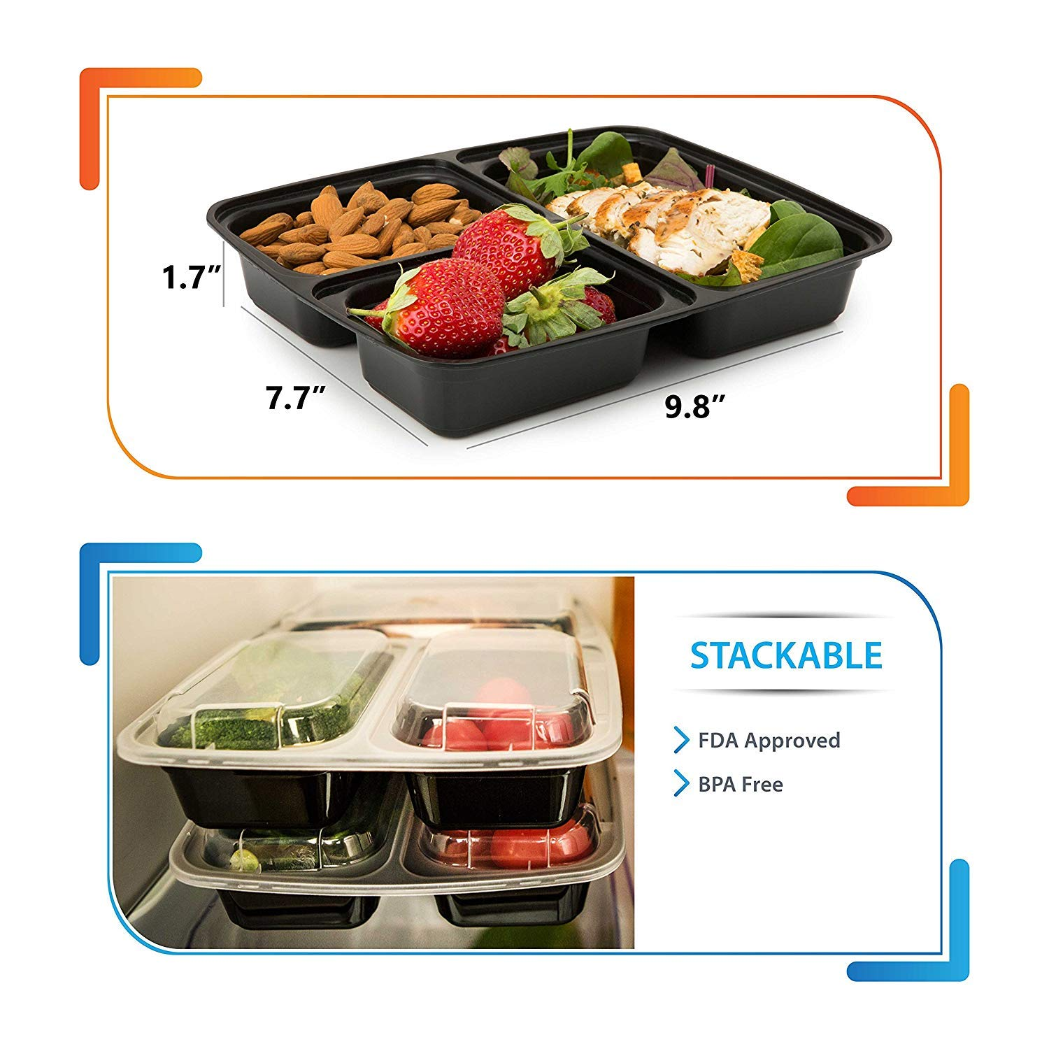 Meal Prep Containers 3 Compartment [15 pack, 32oz] - Bento Box Food Containers BPA Free Bento Boxes For Adults Lunch Containers - Plastic Containers with Lids Food Storage Containers with Lids by Prep Naturals (Image #4)