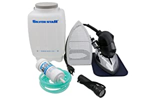 Silver Star Bottle Steam Iron ES-90 Gravity Feed Steam Iron - Complete Kit Ironing System Includes Non-Stick Laminate Sole Plate and Demineralizer (Includes LED Flashlight)