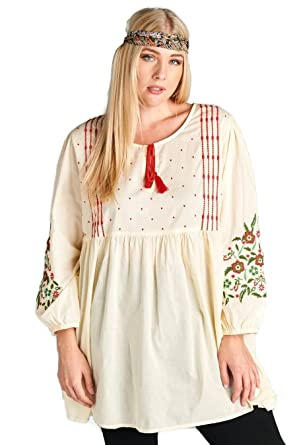 65c6ff8f6 Velzera Floral Embroidered Peasant Tunic Dress Boho Chic Plus Size at  Amazon Women s Clothing store
