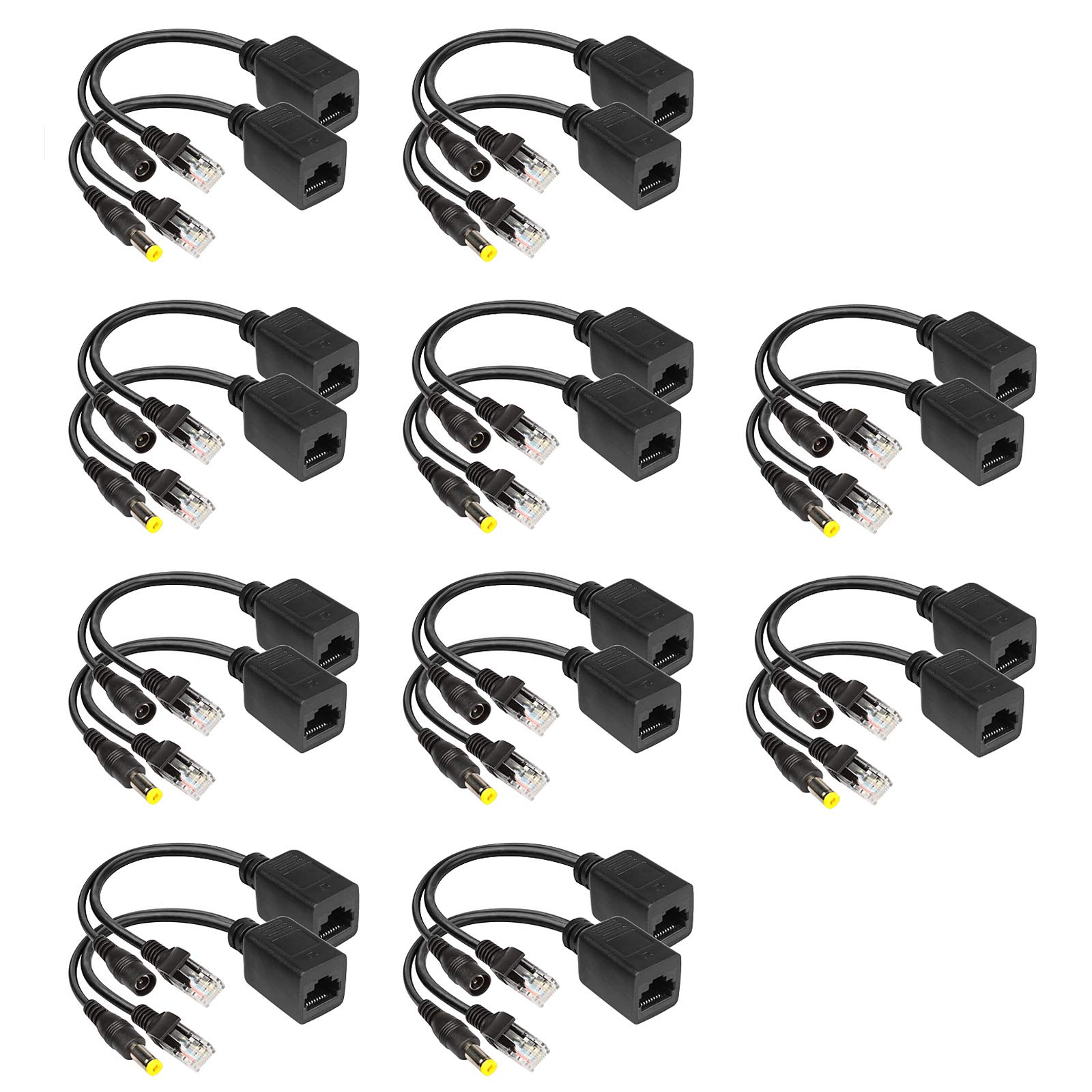 10 Pairs Passive PoE Over Ethernet Injector and Splitter Cable Kit with 5.5x2.1 mm DC Male and Female Connector for Network Digital Signal by eoere