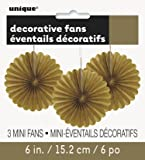"6"" Mini Gold Tissue Paper Fan Decorations, 3ct"