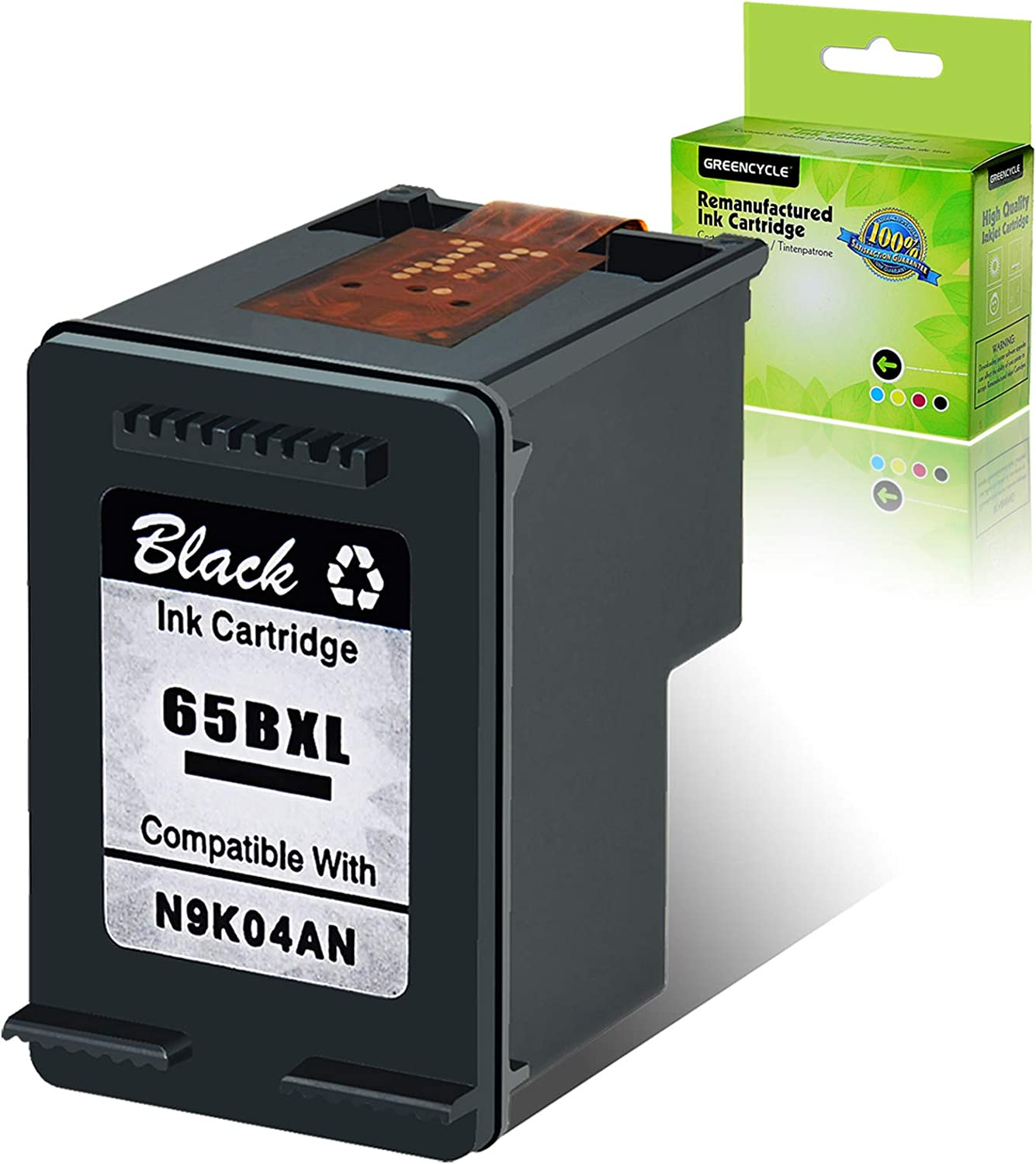 GREENCYCLE Re-Manufactured 65XL 65 XL Ink Cartridge Compatible for HP Envy 5055 5052 5058 Deskjet 2655 2652 2622 3720 3730 3752 3758 All-in-One Printer, with New Version chip (Black, 1 Pack)