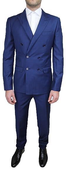 ea5440fc31 Abito Cerimonia Uomo Sartoriale Completo Blu Doppiopetto Slim Fit Taglia da  46 a 60