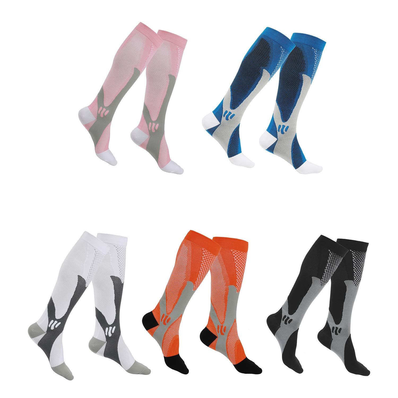SherryDC Compression Socks for Women & Men (5 Pair, XXL) Best Medical Grade Graduated Compression Stockings for Running, Athletic, Nursing, Pregnancy, Flight Travel, Crossfit