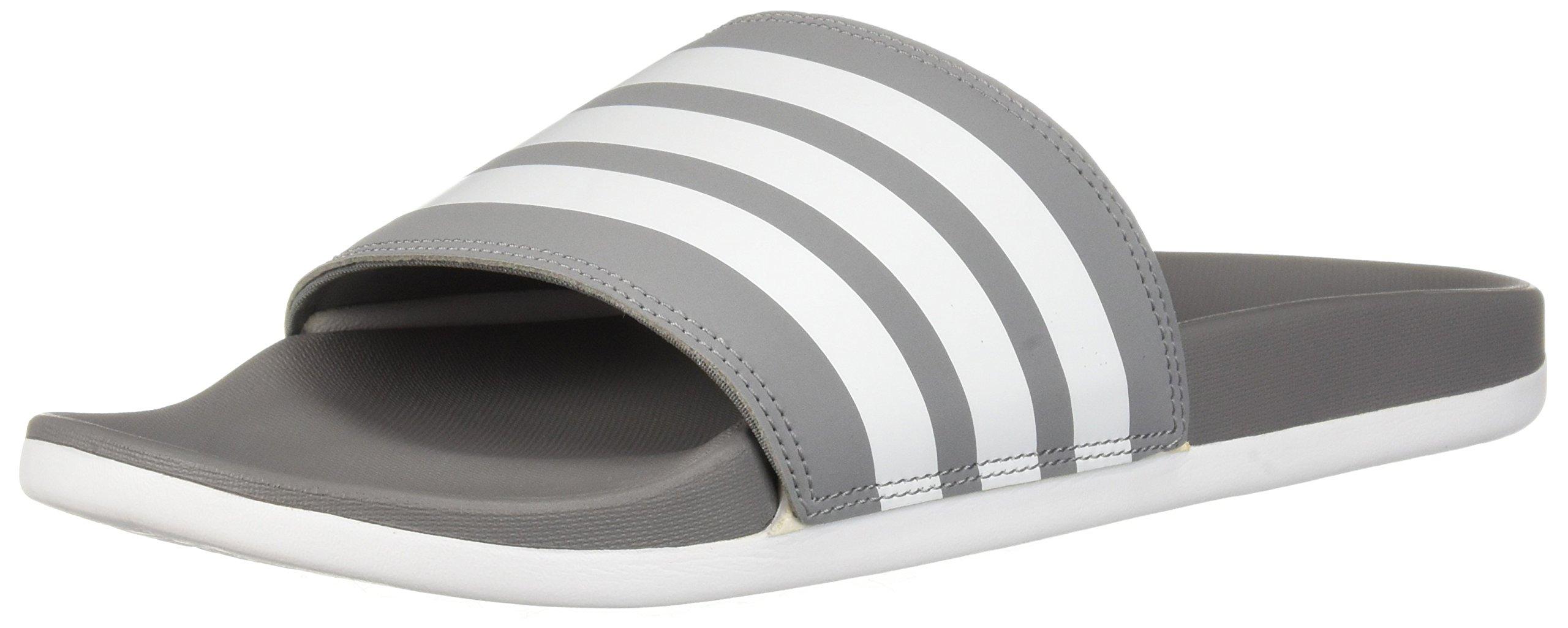 adidas Men's Adilette Comfort Slide Sandal, Grey/White/Grey, 11 M US