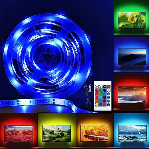Led Tira de TV, Pomisty Tira Leds Lluminación Excelente Impermeable,2M USB Tira de LED Retroiluminación mit Control Remoto 24 Botones para TV DE 40 A 60 Pulgadas HDTV, Monitor de PC: Amazon.es: