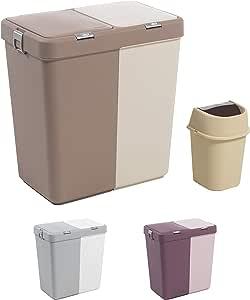 """Mabel Home Plástico de lavandería Cesto con Tapa, 2 Secciones, una lavandería Grande Cesta € """"Basura Extra Bin (1,6 galones) Inc. (Marrón Gris): Amazon.es: Hogar"""