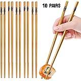 10-Pairs 8.85inch Healthy Natural Bamboo Chopsticks Reusable, Handmade Safe Practical Chop sticks, Cute Chopsticks Set Gift Tableware Asian Japanese Korean chinese Noodles Sushi (Fish Drawing)