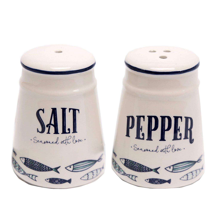 Seaside Design Ceramic Salt /& Pepper Shaker Pot Set Boat Design
