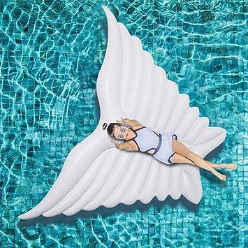 ZLYFA 1857/5000 Giant Angel Wings Piscina Inflable Flotador Aire Colchón Ocioso Fiesta De Agua Juguete Ride-on Mariposa Anillo De La Natación,White: ...