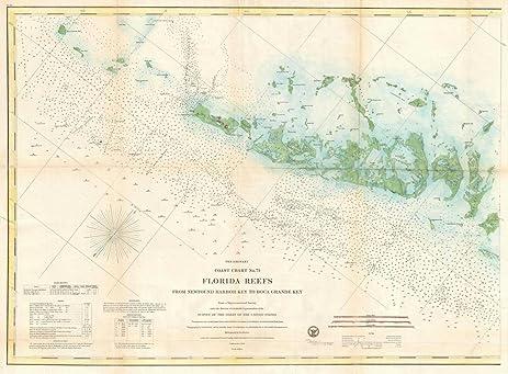 Amazoncom Historical US Coast Survey Nautical Chart Or - Florida keys us map