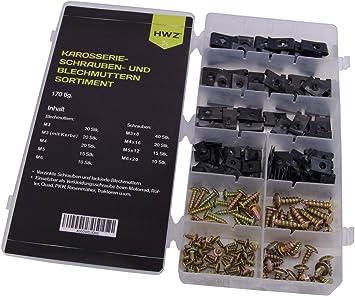 170 TLG Sortiment KAROSSERIE-KLEMMENSATZ BLECHMUTTERN /& BLECHSCHRAUBEN