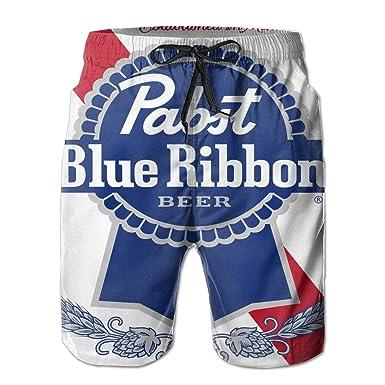 6b73a9c6a1 Amazon.com: Men's Beach Shorts Pabst Blue Ribbon Beer Logo Summer Quick Dry  Swimming Pants: Clothing