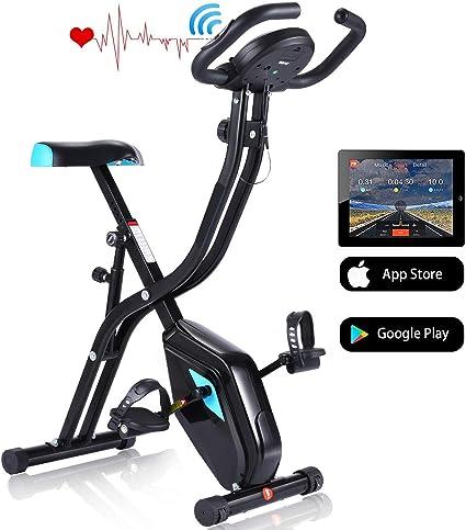 Profun Bicicleta Estática Plegable de Fitness con Respaldo Xbike con App Pantalla LCD 10-Niveles Ajustable para Ejercicio Entrenamiento en Casa (Tipo 2 Negro sin Respaldo): Amazon.es: Deportes y aire libre