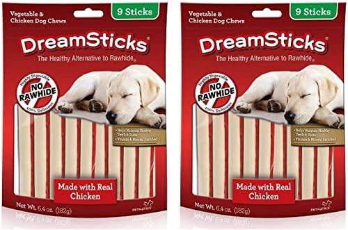 DreamBone DreamSticks Dog Chew Made Wholesome Vegetables Real Chicken, Easy to Digest, Rawhide-Free – 9 Sticks per Resealable Bag 2 Pack