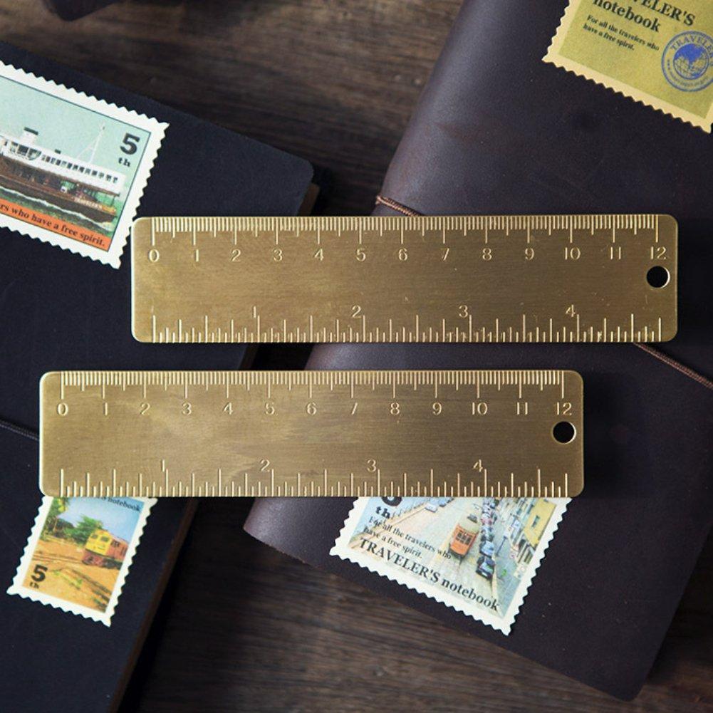/Longyitrade 12/cm /Échelle vintage durable Laiton Marque-page R/ègle droite /étudiants papeterie/ /Laiton/