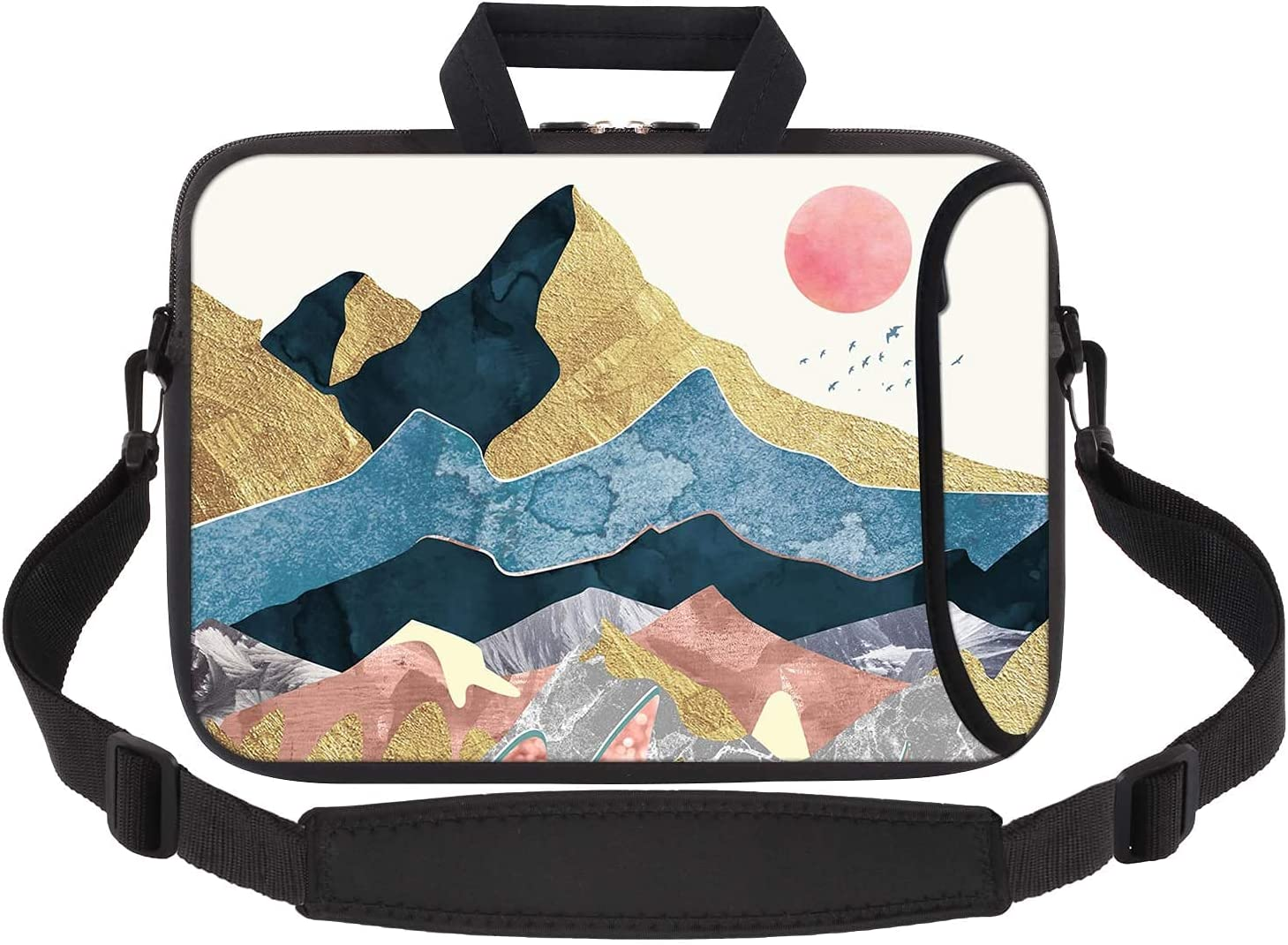 iCasso Laptop Sleeve Carring Case Handble Bag Compatible with 13 13.3 inch 2018-2021 MacBook Pro, MacBook Air, Chromebook Notebook ,Waterproof Shock Resistant Bag Case with Accessory Pocket - Abstract