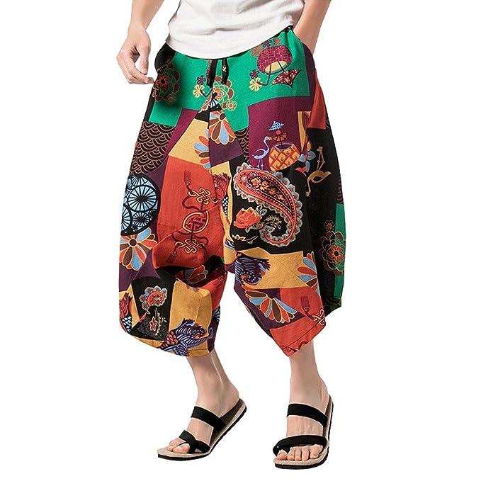 PARVAL Pantalones de harén Cortos Impresos para Hombres Pantalones ...