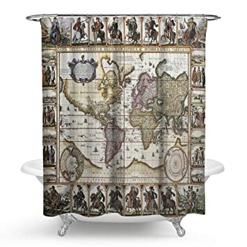 Kisy old map of the world waterproof bath shower curtain vintage kisy old map of the world waterproof bath shower curtain vintage world map compass ancient global gumiabroncs Gallery