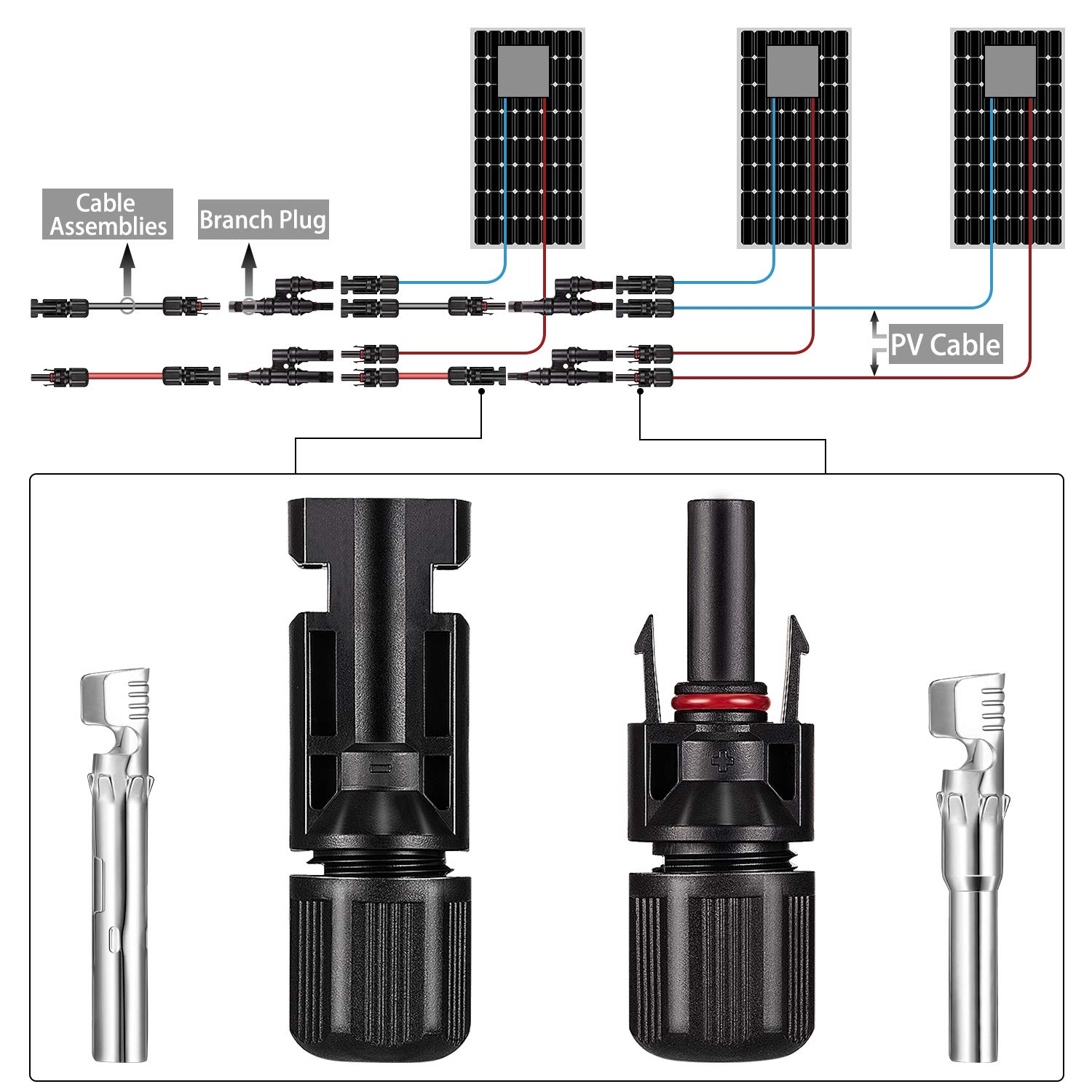 Style A Solar Panel Tools Kit Assembly Including 15 Pairs Female and Male Connectors for MC4 2 Pieeces Spanner for MC4 and 1 Pairs Y Branch Connector