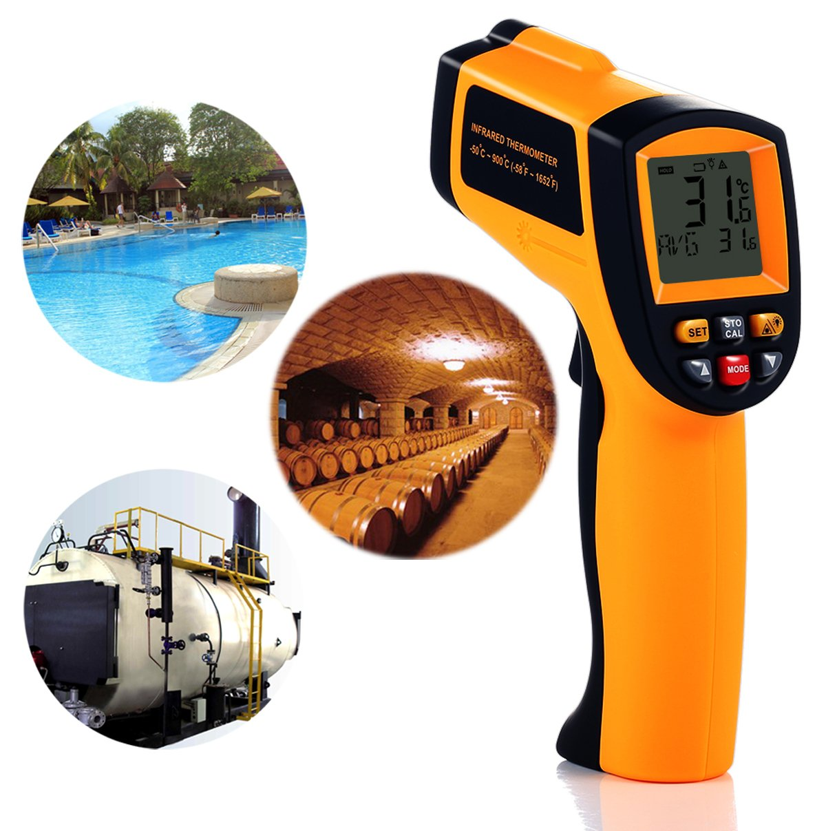 Tekit Non-Contact Laser Infrared Digital Thermometer, -50 ~ 900℃ Temperature Measuring Range, Handheld Laser Target Pointer / Backlight / Auto Power On/Off by Tekit (Image #6)