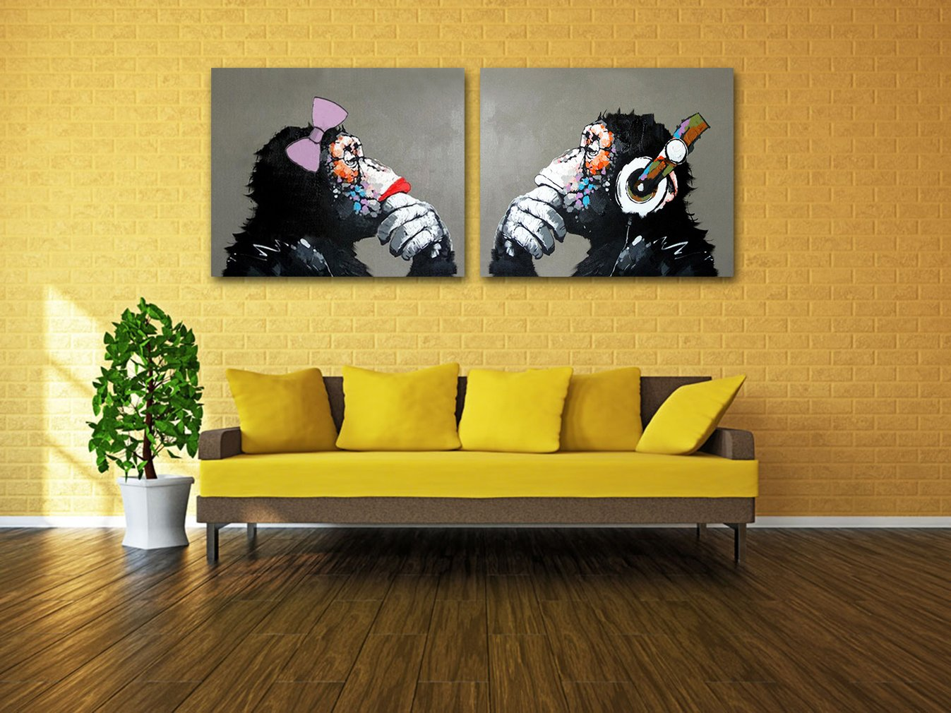 Muzagroo Art Gorilla with Headphone Oil Painting Hand Painted Art on ...