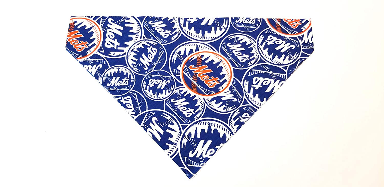 New York Mets Pet No-Tie Dog Bandana Slip On Over the Collar