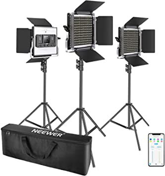 3200-5600K CRI96+ Dimmable Light with U Bracket and Barndoor Light Stand 3 Neewer 3 Packs Bi-color 660 LED Video Light with Stand and Softbox Kit: 3 3 Softbox for Studio Photography Video Shooting