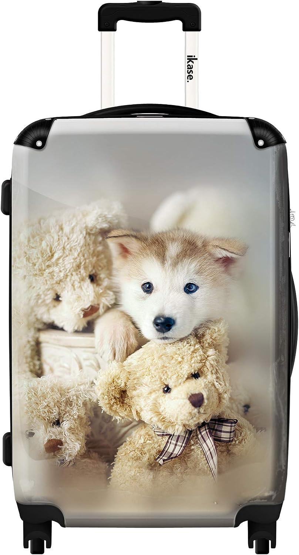 Ikase Hardside Spinner Luggage Sweeties white dogs
