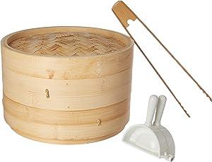 Joyce Chen Bamboo Steamer Set J2504DS-1, 6 Piece Set, Wood/White