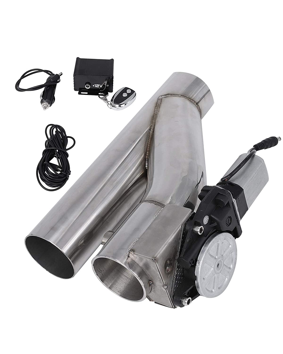 BLACKHORSE-RACING 2PCS 2.5' Electric Exhaust Downpipe E-Cut Out Valve System + One Controller Remote Kit blackhorseracing