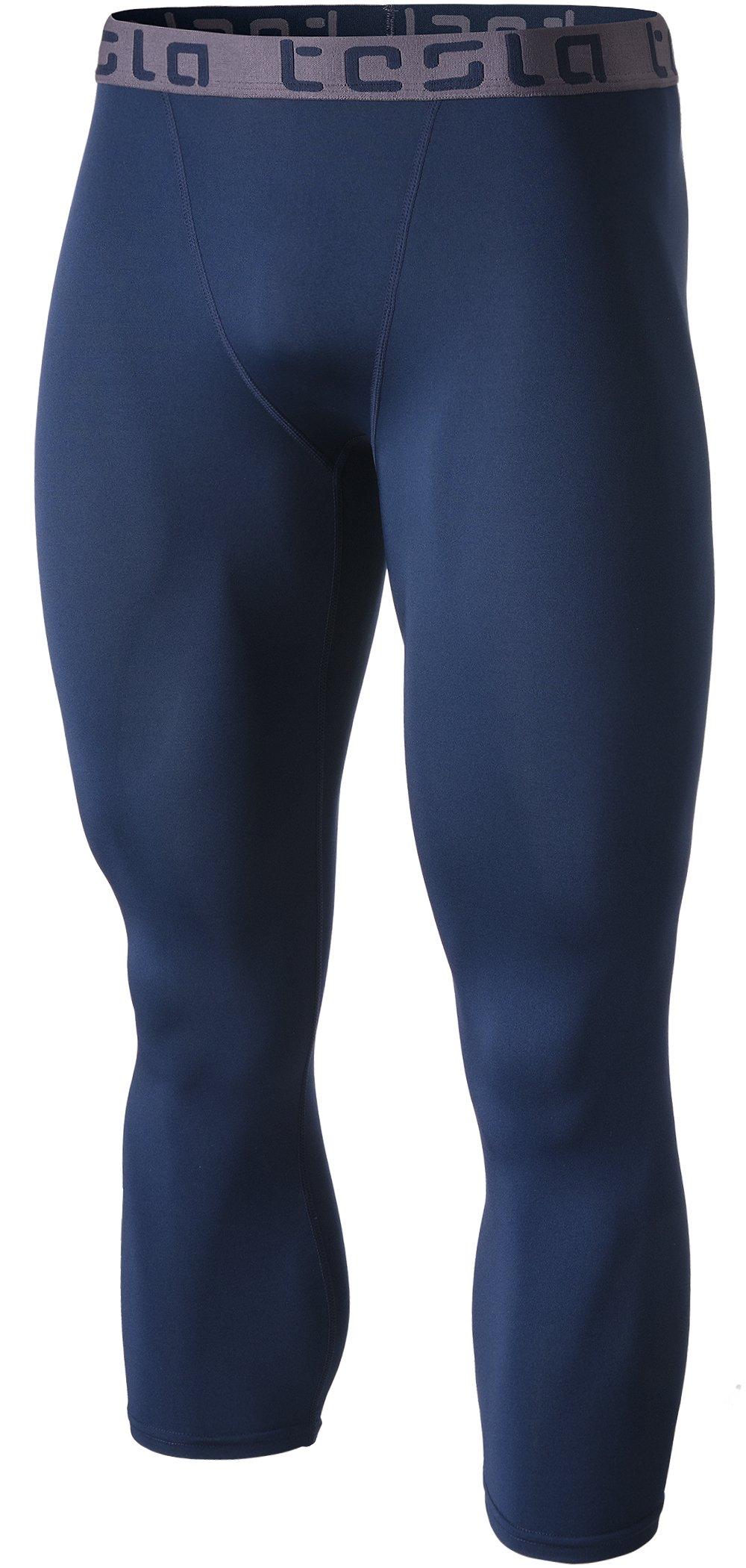 Tesla TM-MUC08-NVY_X-Large Men's Compression Capri Shorts Baselayer Cool Dry Sports Tights MUC08
