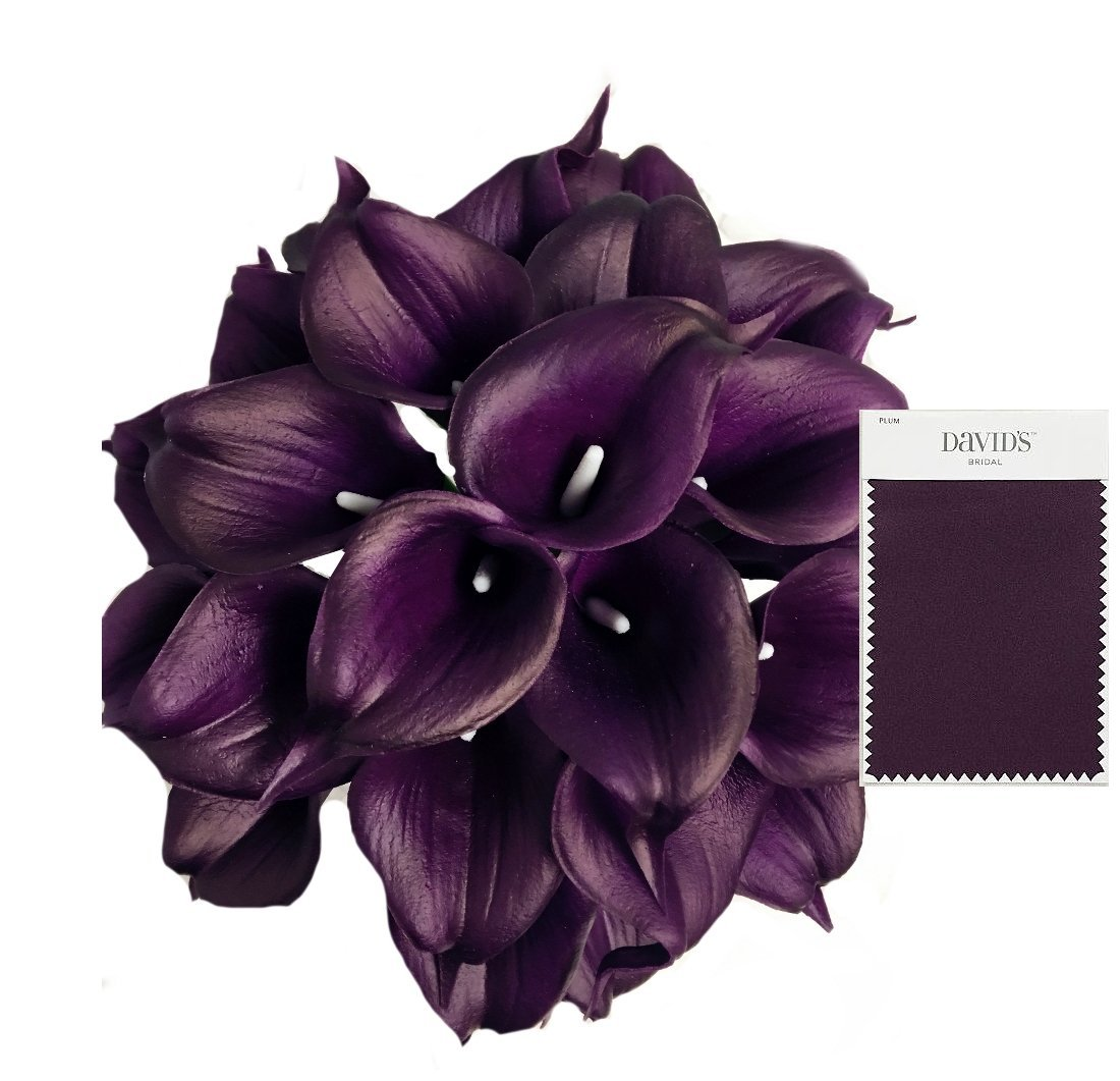 Angel Isabella, LLC 20pc Set of Keepsake Artificial Real Touch Calla Lily with Small Bloom Perfect for Making Bouquet, Boutonniere,Corsage (Plum) by Angel Isabella, LLC