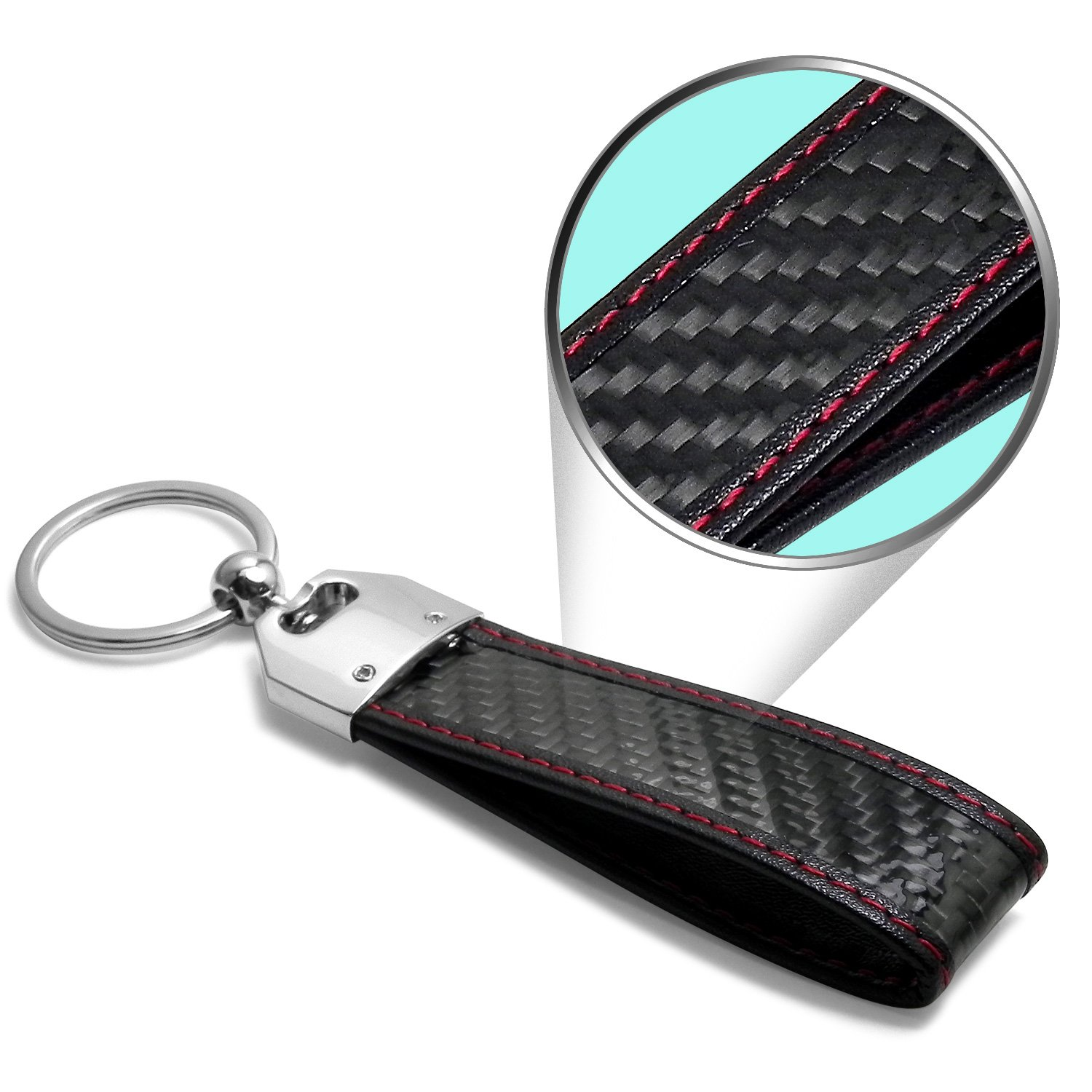 iPick Image Honda HR-V Real Carbon Fiber Leather Key Chain with Red Stitching